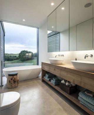 bath in front of window